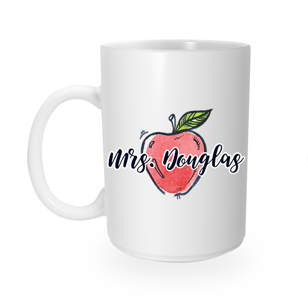 Custom Teacher's Apple Coffee Mug Right