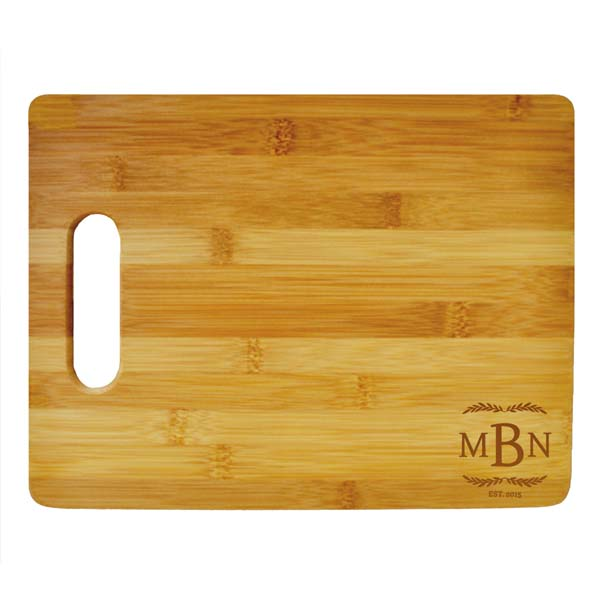 Three Letter Monogram Large Cutting Board