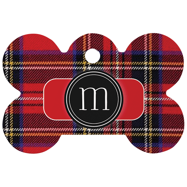 Plaid Monogram Bone Pet ID Tag