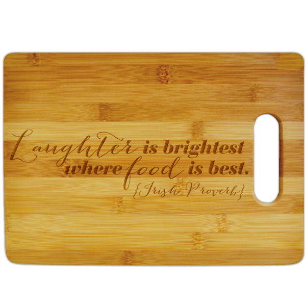 Food & Laughter Irish Proverb Large Cutting Board