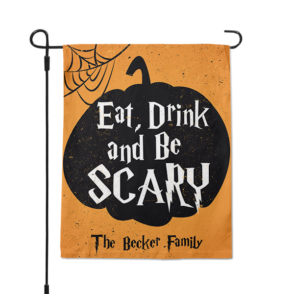 Halloween Pumpkin Custom Family Name Garden Flag