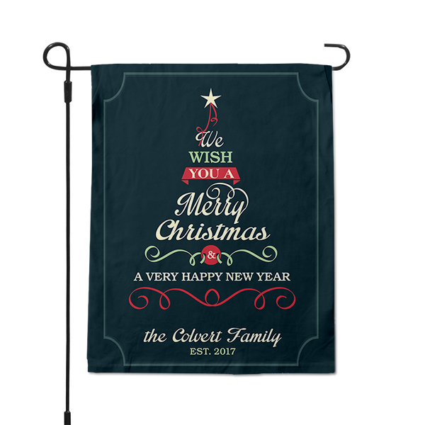 Good Tidings Christmas Tree Custom Name Garden Flag