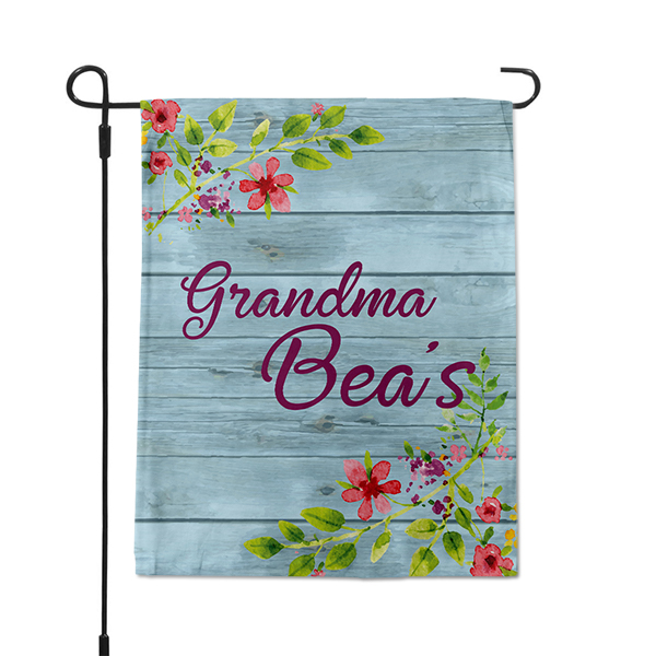Farmhouse Florals Custom Name Garden Flag