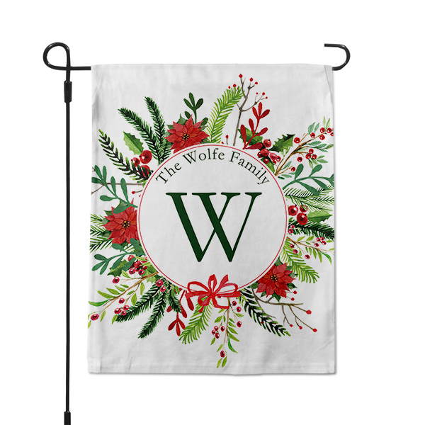 Holly & Mistletoe Custom Family Name Garden Flag