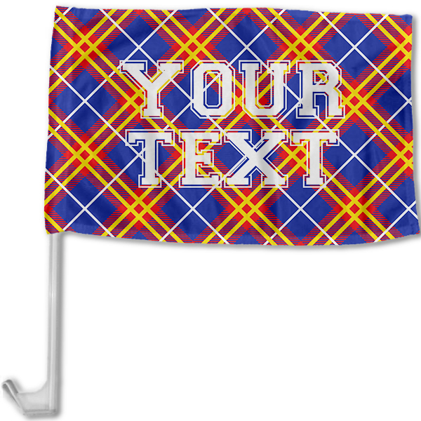 Kansas Inspired Red, Blue and Yellow Collegiate Car Flag with pole