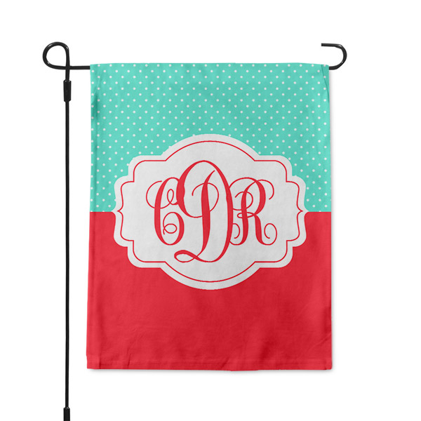 Feminine Polka Dot Monogram Custom Garden Flag