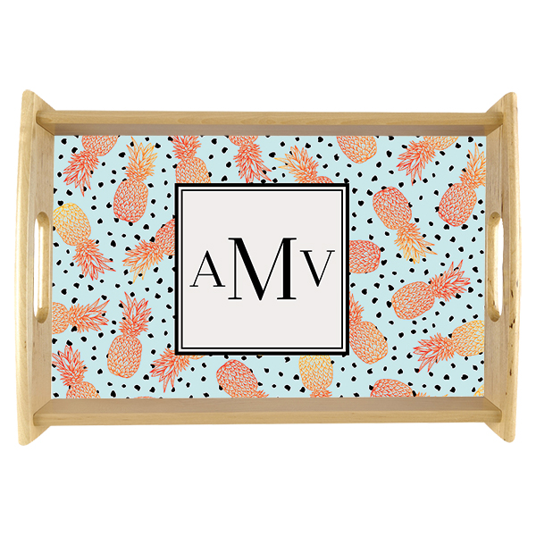 Ombre Pineapple Monogram Custom Serving Tray