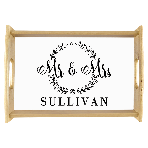 Floral Frame Mr. and Mrs. Custom Wedding Serving Tray