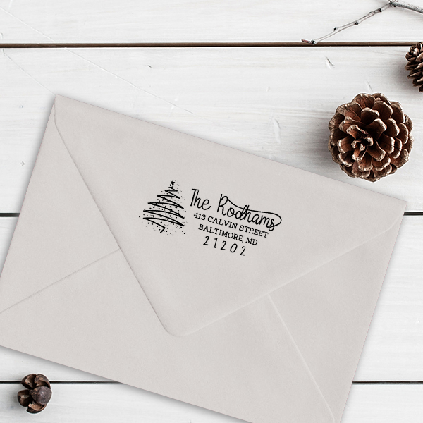 Rodham Script Christmas Tree Return Address Stamp