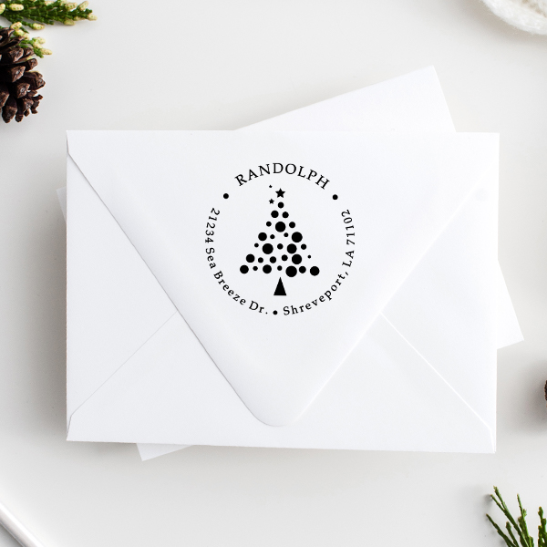 Polka Dot Christmas Tree Return Address Stamp