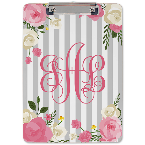 Flowers and Stripes Monogram Clipboard