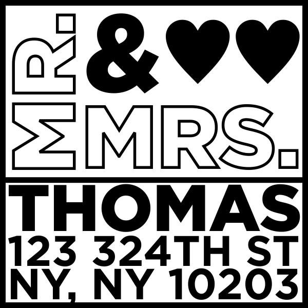 Thomas Wedding Address Stamp
