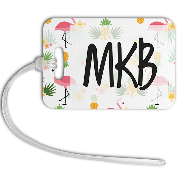 Pineapples & Flamingos Monogrammed Luggage Tag Front