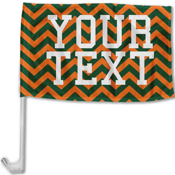 Miami Inspired Orange And Green Collegiate Car Flag with pole