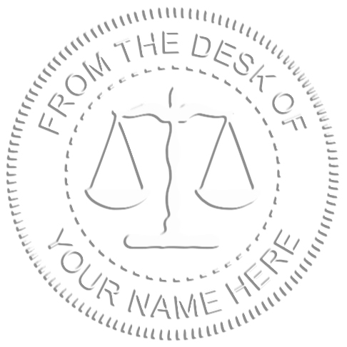 From The Desk of Seal with Scales of Justice embossed impression