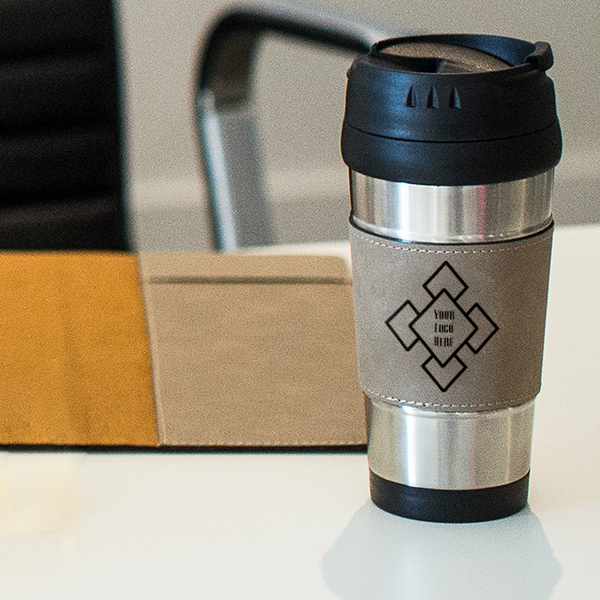 Custom Logo Leatherette Travel Mug Lifestyle