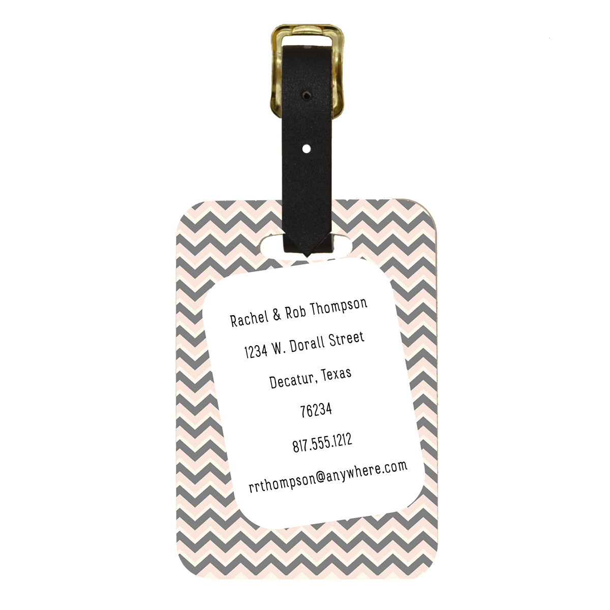Custom couple Zig Zag design Double Sided Luggage Tag - Back