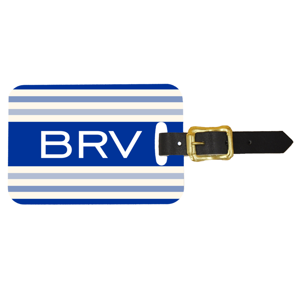 Custom Blue Striped Monogram Design Double Sided Luggage Tag - Front