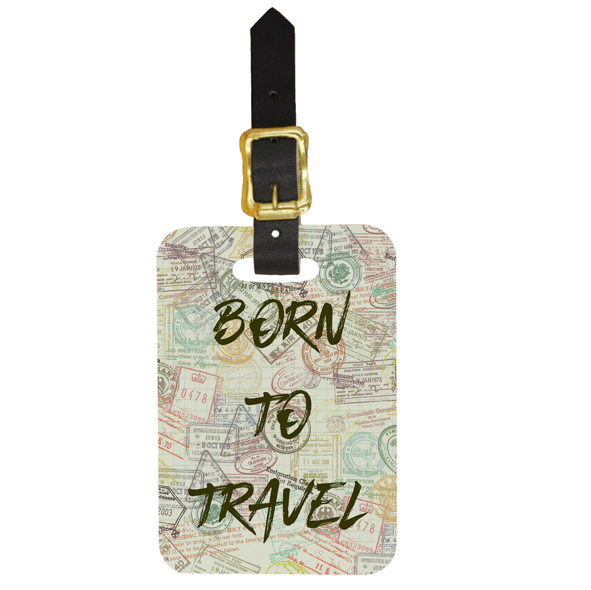 Custom Born To Travel Design Double Sided Luggage Tag - Front