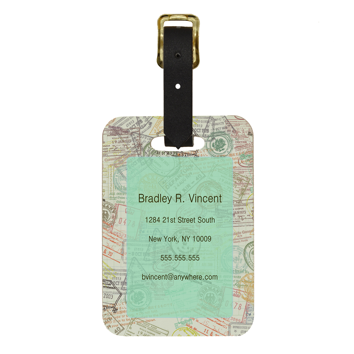 Custom Born To Travel Design Double Sided Luggage Tag - Back