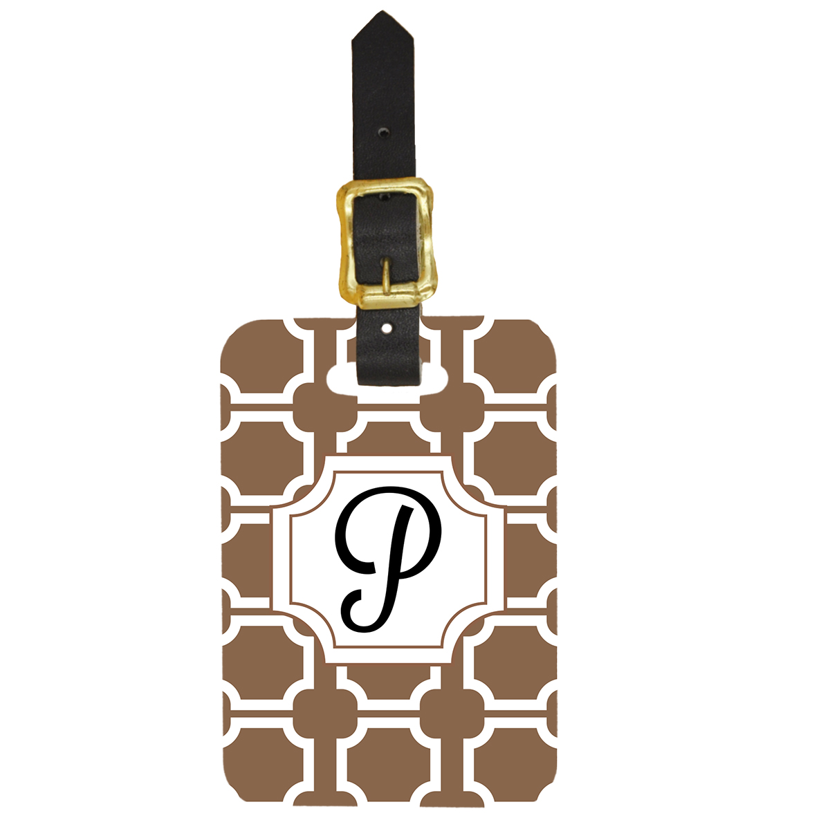 Custom Luggage Tag Art Deco Monogram Design - Front