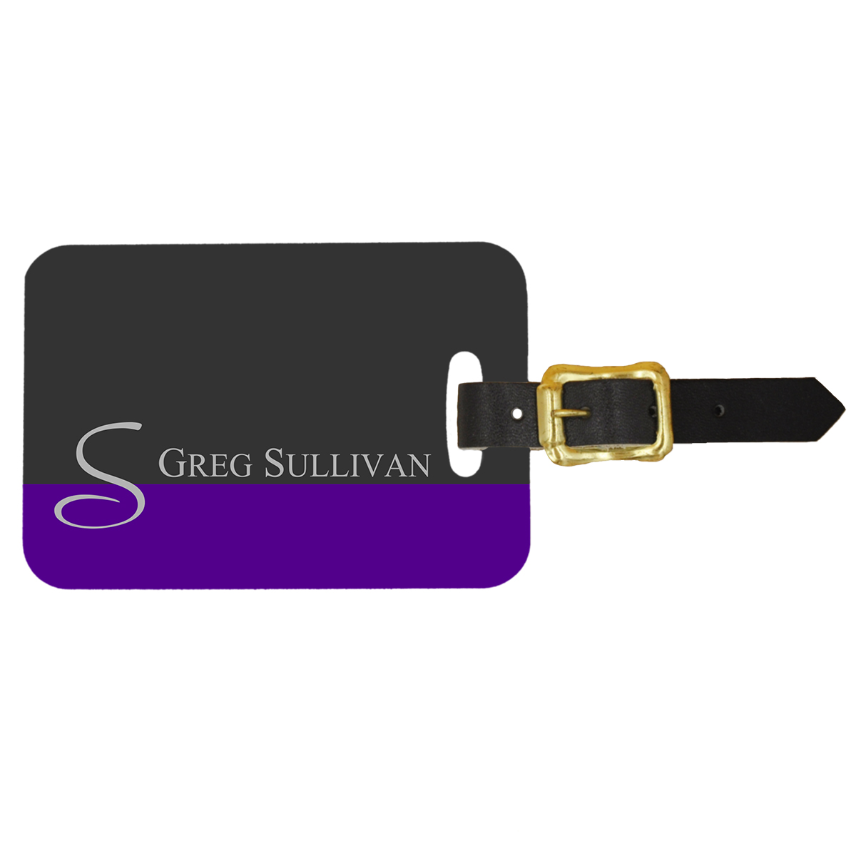 Custom Luggage Tag Double Sided Purple & Grey Initial Design - Front