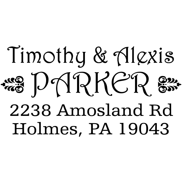 Parker Deco Address Stamp design