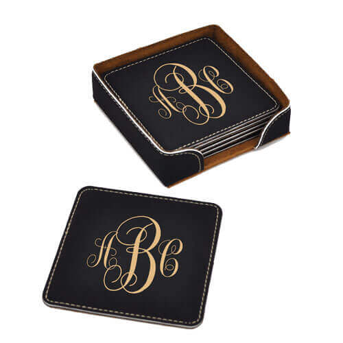 Monogram Coaster Set Black Leatherette