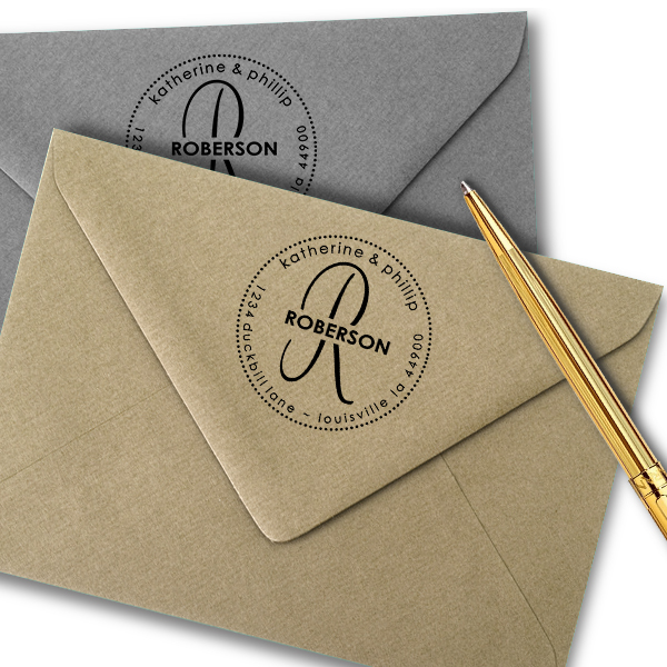 Roberson Monogram Round Address Stamped envelopes
