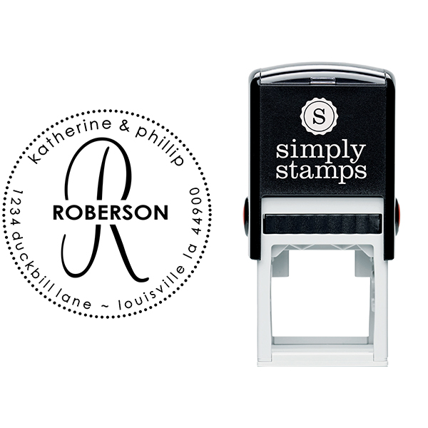 Roberson Monogram Round Address Stamp & stamp model body