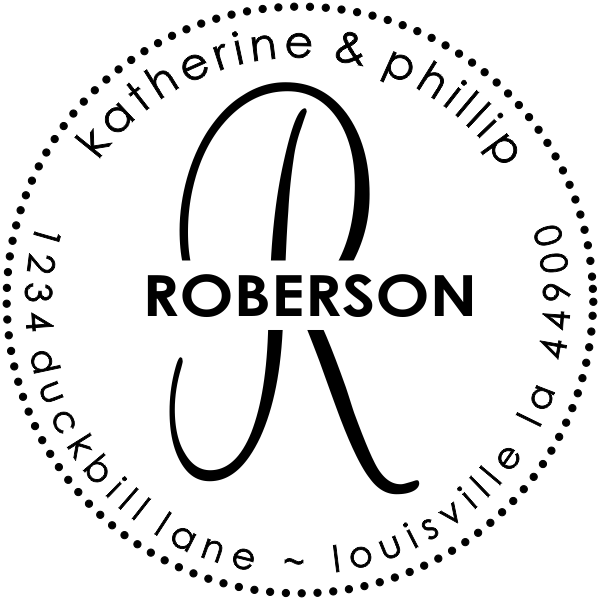 Roberson Monogram Round Address Stamp design