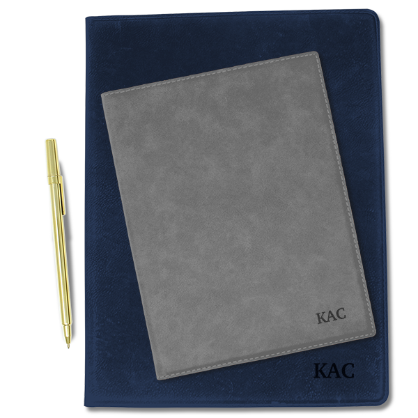 Custom Initials Leatherette Folio - closed