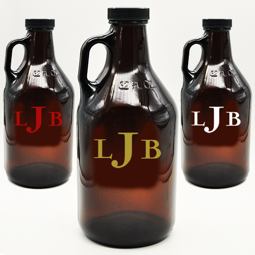 Monogram Amber Growler 3 Letter Customized