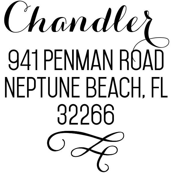 Chandler Swash Address Stamp design