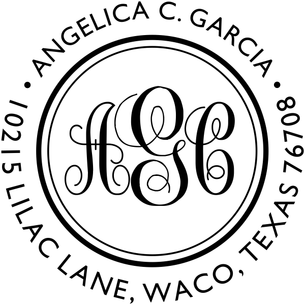 Angelica Monogram Address Stamp