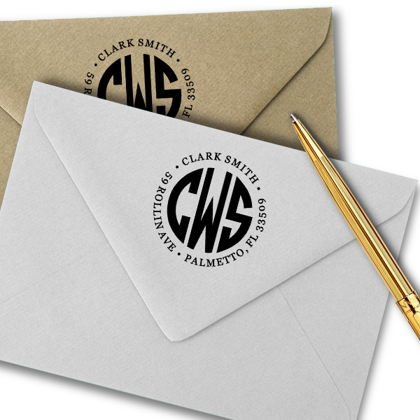 Round Initial Monogram Stamped envelopes