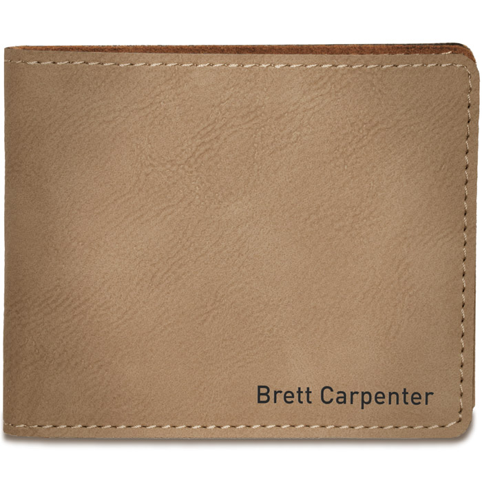 1 line Custom Leatherette Bi-Fold Wallet - closed