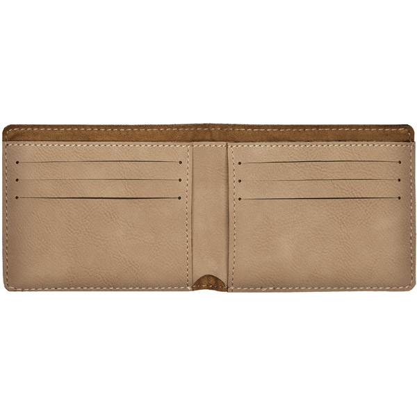 1 line Custom Leatherette Bi-Fold Wallet - open