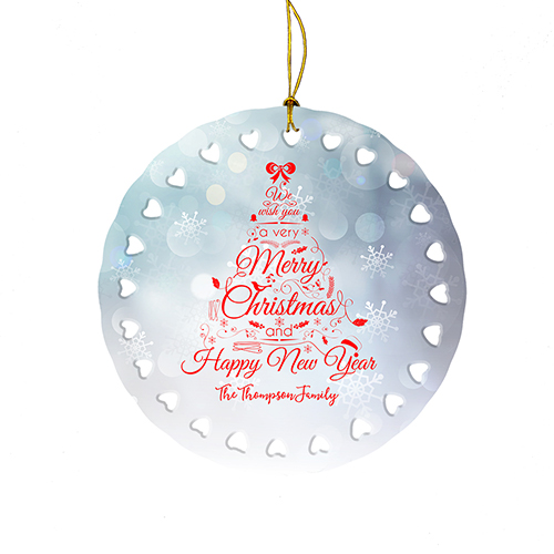 Double Sided - Circle with Hearts Ceramic Ornament