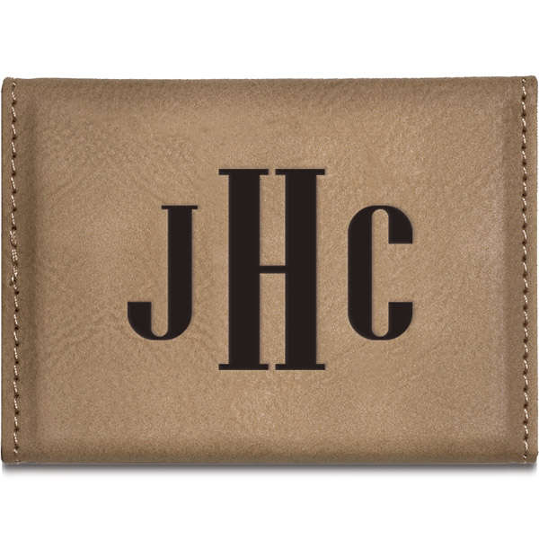 Monogram Leatherette Business Card Holder