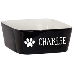 Pet Bowl Custom Engraved Name with Paw Print