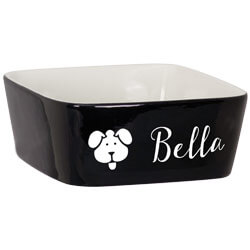 Pet Bowl Custom Engraved Name with Dog Face