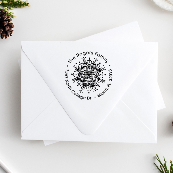 Rogers Ornament Round Address Stamp