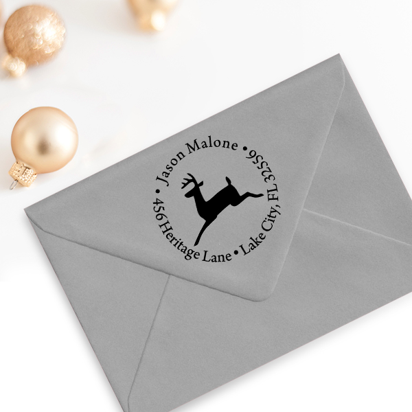 Leaping Reindeer Holiday Return Address Stamp