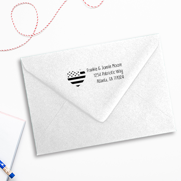 Return Address Patriotic Heart Flag Stamp