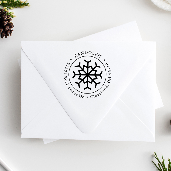 Eight Point Snowflake Return Address Stamp