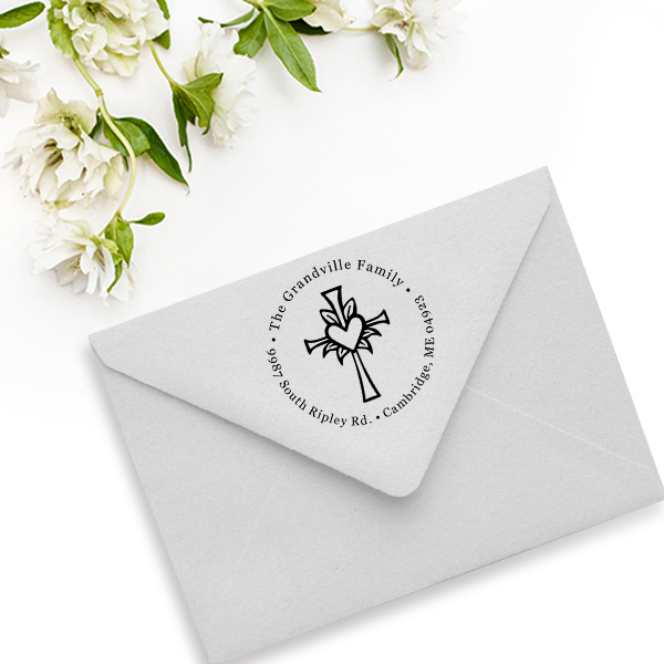 Lily Cross Heart Address Stamp