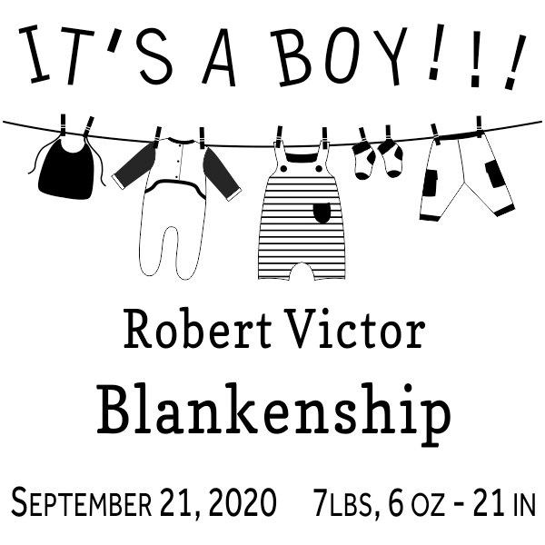 It's A Boy Clothes Line Rubber Stamp