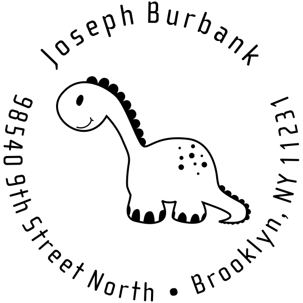 Stuffed Dinosaur Return Address Stamp