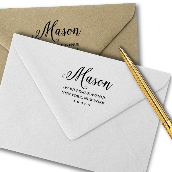 Taylor Elliott Mason Script Return Address Stamp